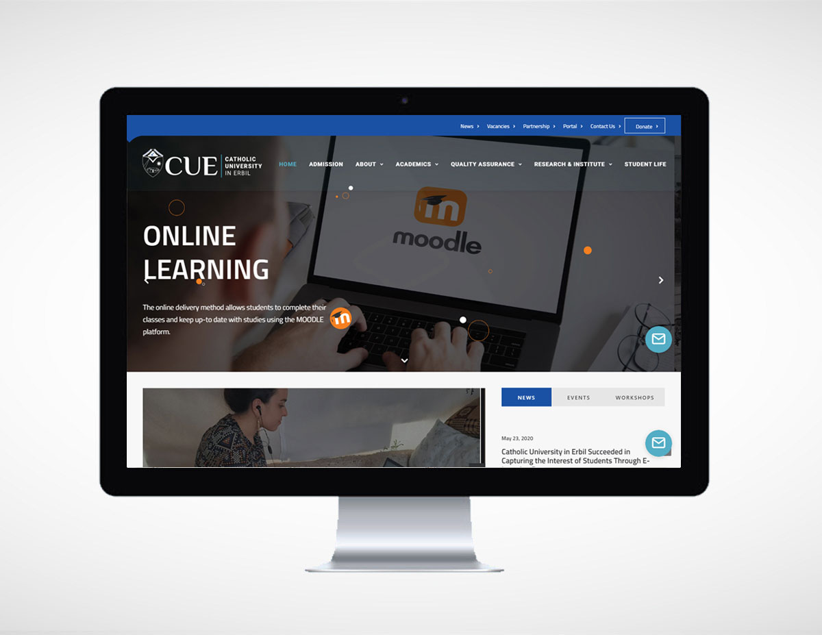 A modern website created for Catholic Unicersity in Erbil